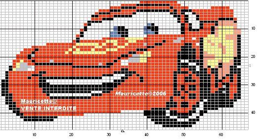 Schema punto croce Auto Arancione