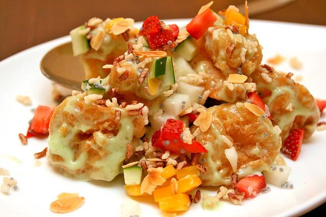 Wasabi cream prawns