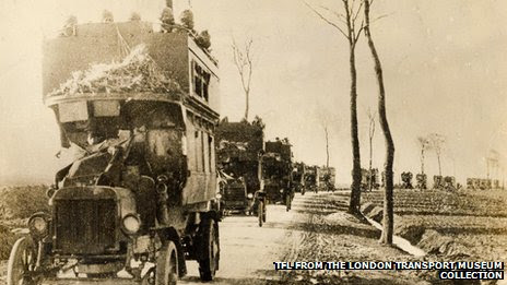 B-type London buses transporting troops during the First World War
