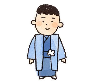 無料素材 七五三で羽織袴を着た男の子をラフなタッチで描いた可愛い