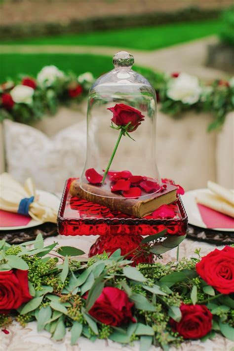 Beauty and the Beast Wedding Ideas in Gold, Navy and Red
