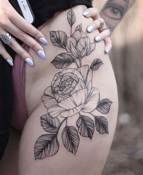 black grey rose tattoo inked left thigh