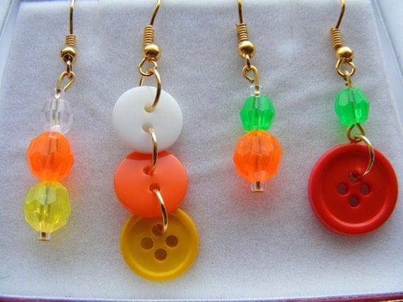 Earrings candy corns & pumpkins