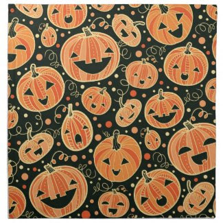 Fun Halloween Pumpkins Pattern Cloth Napkins