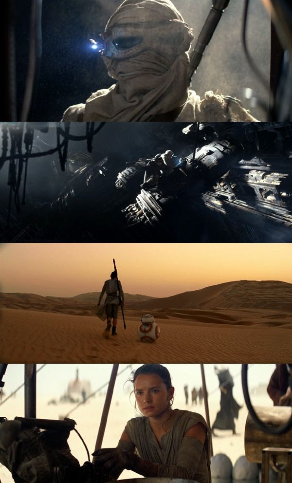 Screenshots from the final theatrical trailer for STAR WARS: THE FORCE AWAKENS.