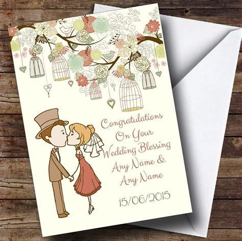 Vintage Birdcage Cute Couple Personalised Wedding Blessing
