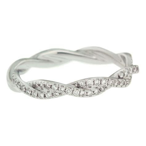Fourteen Karat White Gold Twisted Wedding Band   Mouradian