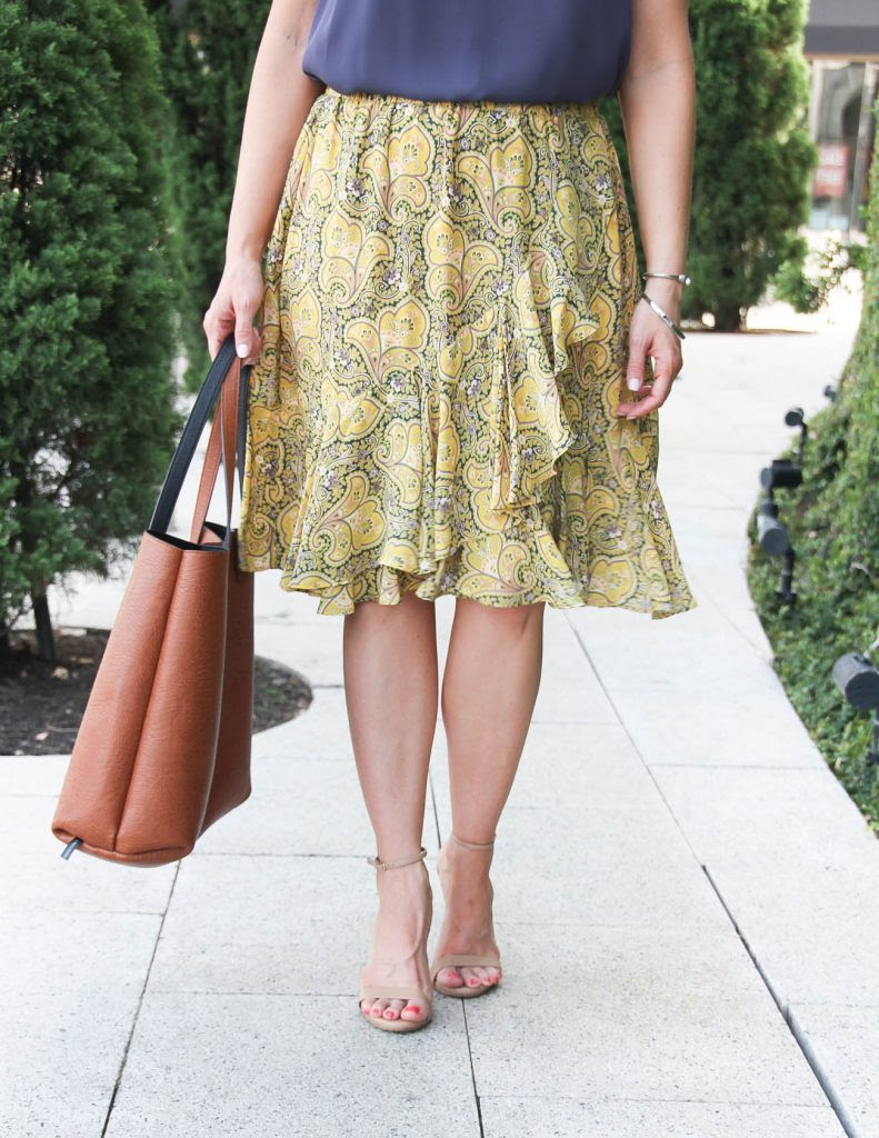 yellow ruffle skirt for the office  lady in violet