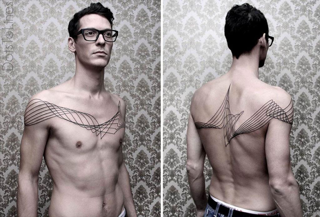 Estas 20 tatuagens lineares geométricas feitas por Chaim Machlev flutuam elegantemente pelo corpo 06