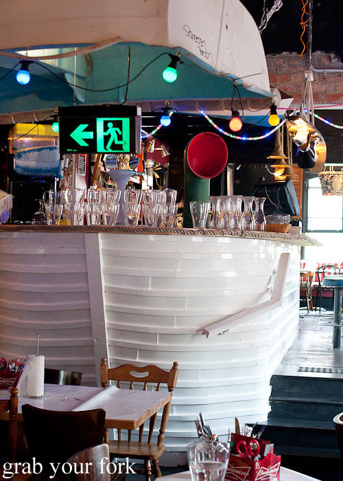 Boat bar and dinghy lighting at House of Crabs, Norfolk Hotel, Redfern