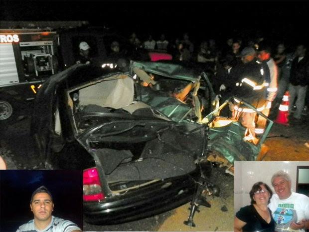 Acidente deixa três mortos na  BR-459 em Santa Rita do Sapucaí (Foto: Luciano Lopes / TV F5.com e Vale Independente)