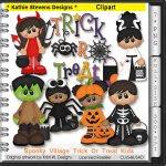 Spooky Village Trick Or Treat Kids Clipart - CU