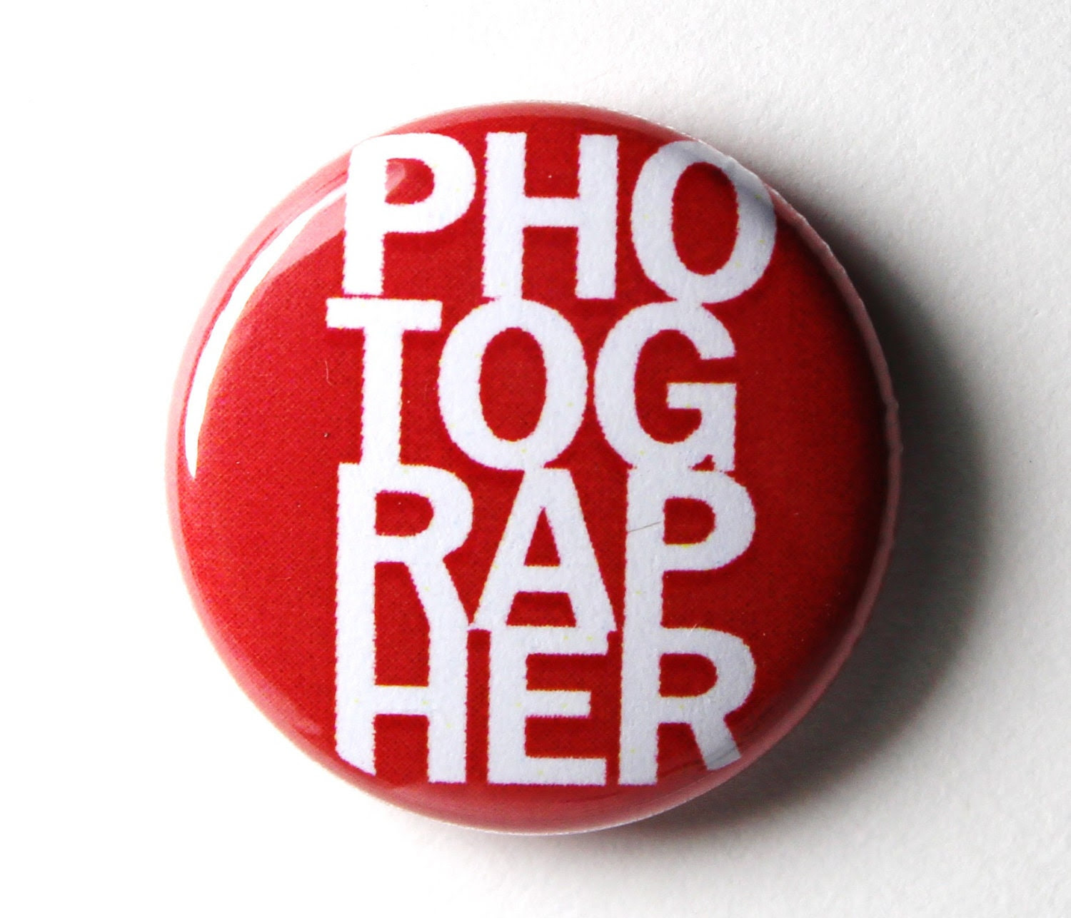 Red or Blue Photographer Button : 1 inch PIN or MAGNET - snottub