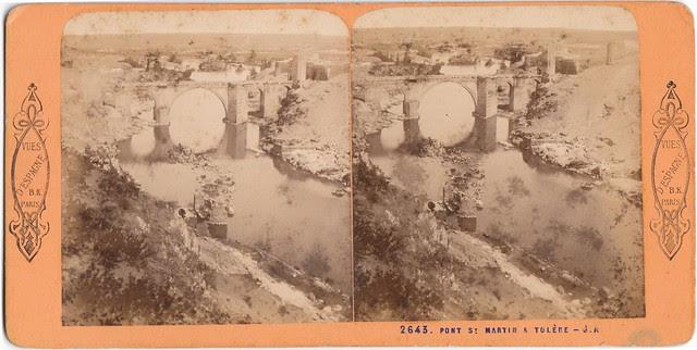 Puente de San Martín. Fotografía estereoscópica de Jean Andrieu en 1868 con número de serie 2643