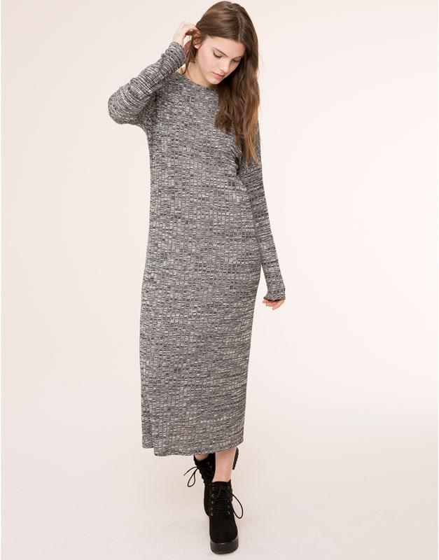 Pull&Bear - mujer - vestidos - vestido largo punto cortado - gris vigo - 09390356-I2015