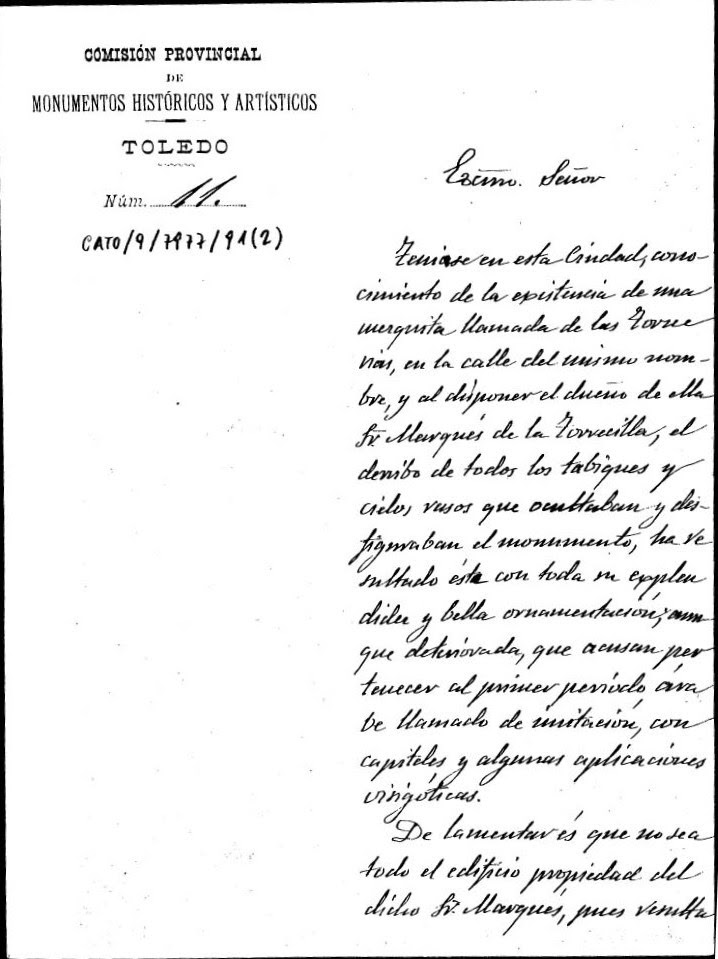 Comunicación del hallazgo de la mezqita de Tornerías por la Comisión de Monumentos de Toledo. Firmada por José Acéves y Acevedo y Manuel Castaños Montijano.  15 de marzo de 1905