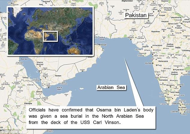 local do sepultamento: corpo de Osama bin Laden foi levado para o mar e despejados no mar do Norte da Arábia a partir do convés do USS Carl Vinson funcionários confirmaram