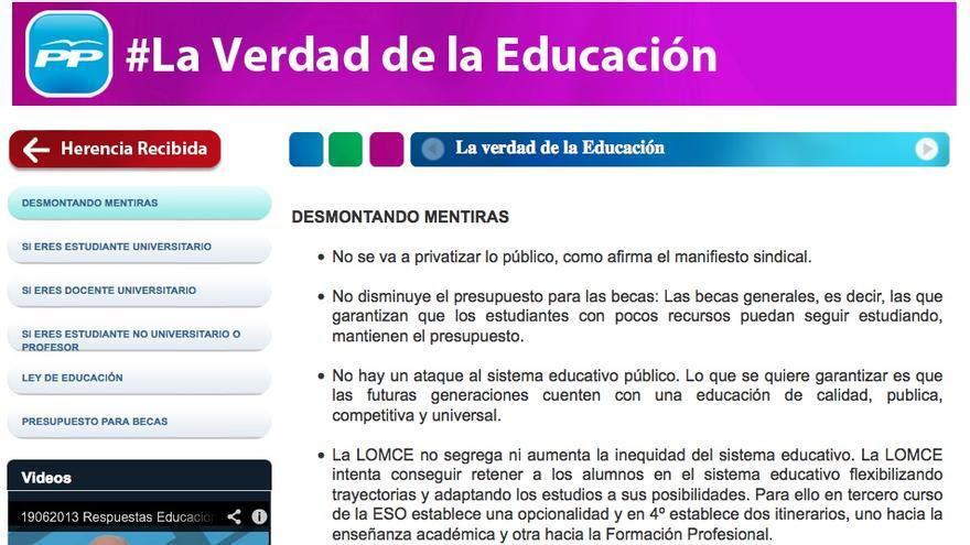 El PP desmonta mentiras sobre la ley de educación con faltas de ortografía