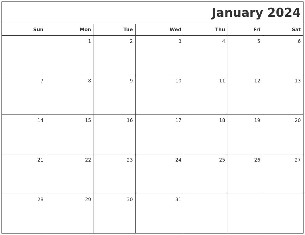 january 2024 printable blank calendar