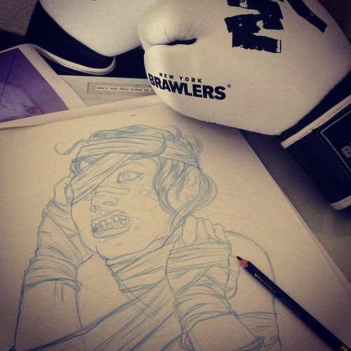 Back at it. Sneak peek at a gnarly lady fighter for #fighthecity #nybrawlers by DRES13