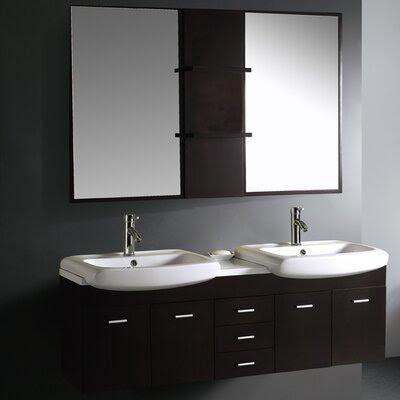 Contemporary Mirror Bathroom Vanity | Wayfair