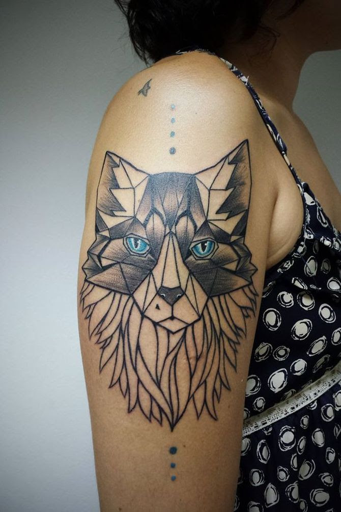 Geometric Wolf Tattoo By Aline Wata Design Of Tattoosdesign Of Tattoos