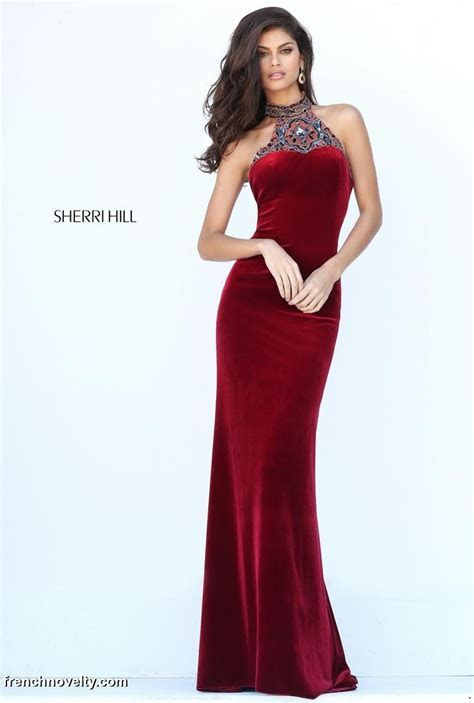 Sherri Hill 50744 High Beaded Neck Evening Gown: French