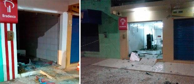 Alvo de explosão na madrugada desta quarta, agência do Bradesco na cidade de São Pedro também foi detonada em maio do ano passado (foto da direita) (Foto: Divulgação/Polícia Militar do RN)