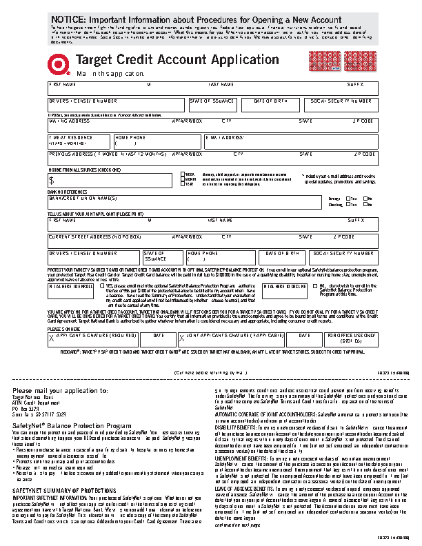 Getting Target Credit Card Application Form