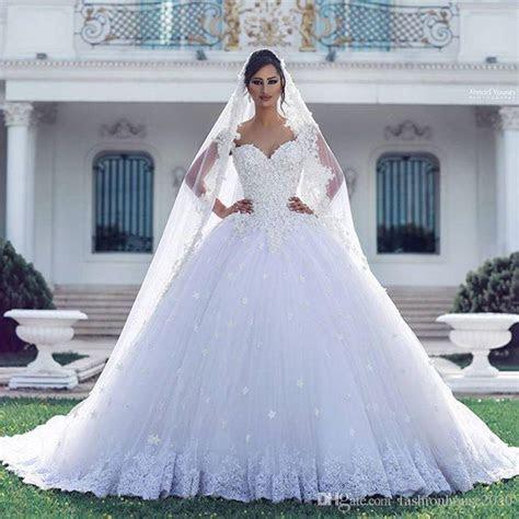 Arabic Luxury Lace Ball Gown Wedding Dresses Applique 3D