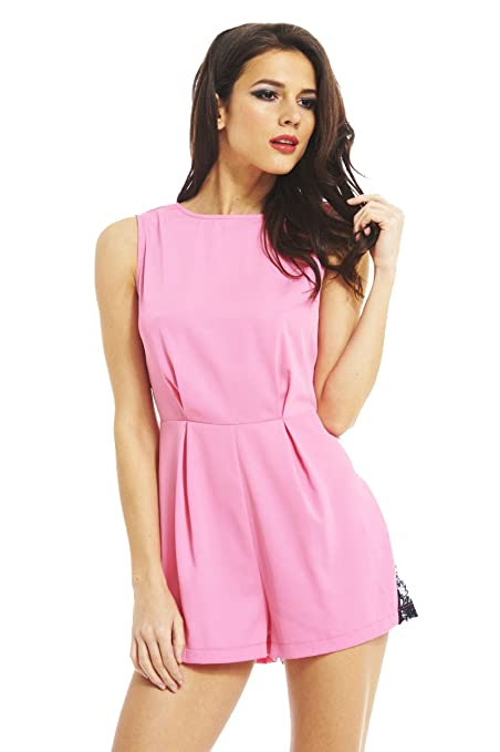 AX Paris Women's Lace Side & Back Insert Romper(PINK, Size:4)