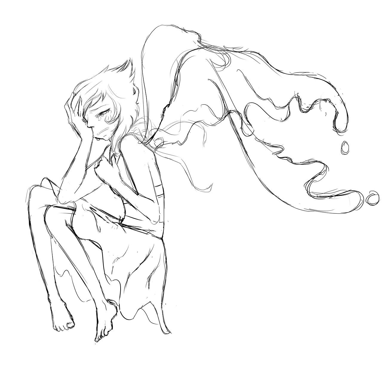Last night I got drunk and said and did some shit that hurt myself and others so here's a Lapis. I'll probably legit finish and color this one day when I'm more sober. Please do not repost or remove...