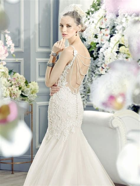 Beautiful lace fit and flare wedding dress with pearl