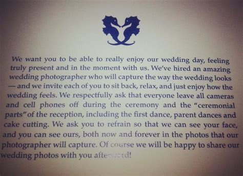 Wording from an Unplugged Wedding program   @offbeatbride