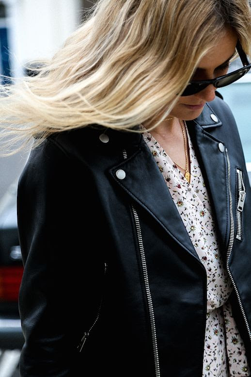 Le Fashion Blog Leather Moto Jacket Pink Floral Dress Via Fashion Me Now