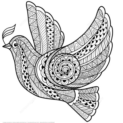Dibujo De Paloma De La Paz Zentangle Para Colorear Dibujos Para
