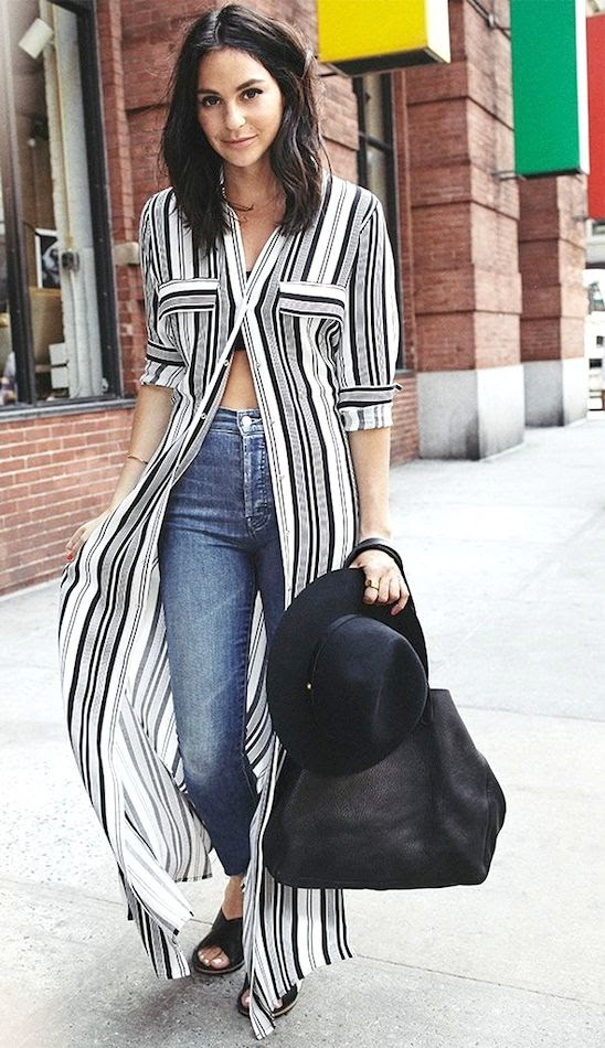 Le Fashion Blog How To Wear A Striped Maxi Shirtdress Tube Top Mother Fray Jeans Madewell Slide Sandals Summer Style Shopbop Lauren Edelstein