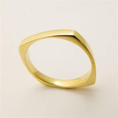 14 Karat Solid Gold Square Ring, Geometric Wedding Ring