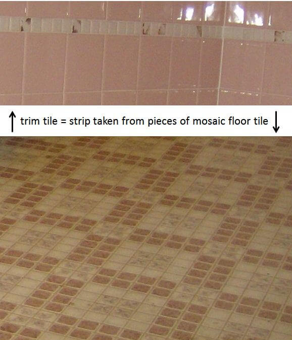Idea for inexpensive bathroom trim tile: Use pieces of ...