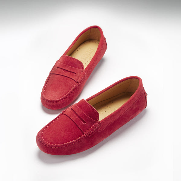 Women's Penny Driving Loafers, red suede - Hugs & Co.