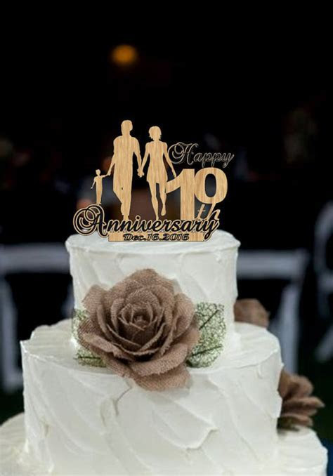 10 Th Anniversary Cake Topper Personalized   Rustic