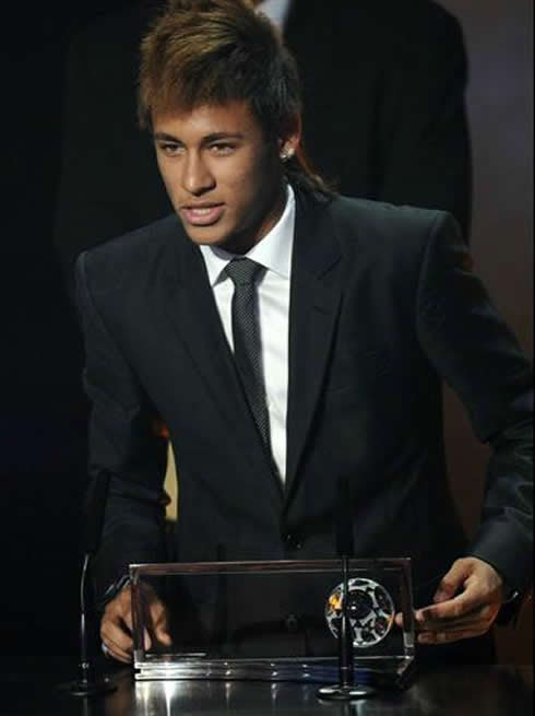 Neymar speaking at FIFA Balon d'Or 2011-2012 gala/ceremony