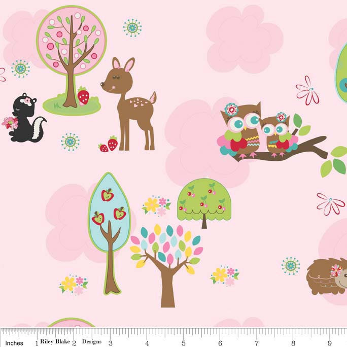 Hoo's in the Forest fabric by Doohikey Designs for Riley Blake Designs -- Pink Main -- Deer, Hedgehogs