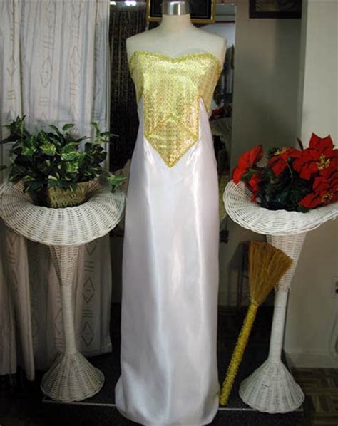 African Wedding Gown  White and Gold Gown
