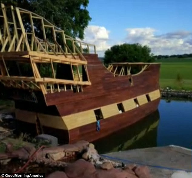 Plain sailing: Tony Miller is building a pirate ship that he plans to