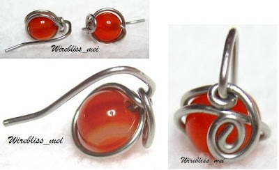 Wire wrapped earrings with 6mm agate