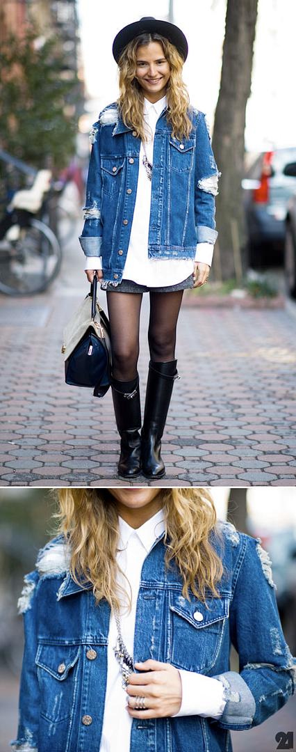le 21eme arrondisement acne fever torn jacket jean denim diy mija mij-a-porter celine bag new york street style