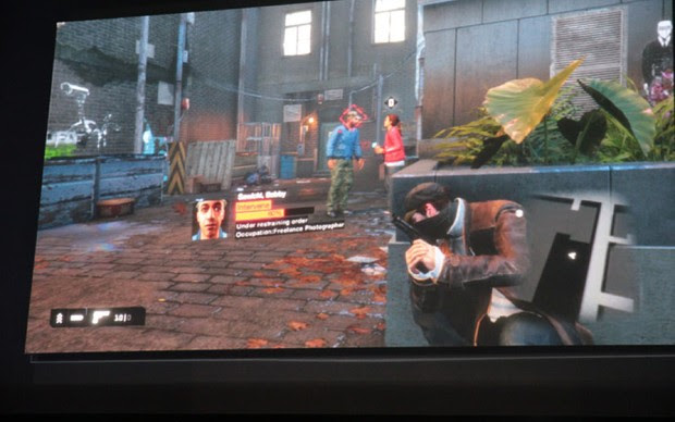 Gameplay de Watch Dogs da Ubisoft ao vivo no palco (Foto: Léo Torres/TechTudo)