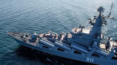 Крейсер «Варяг» провёл стрельбы в заливе Петра Великого в Приморье