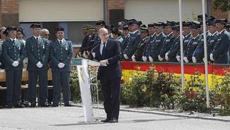 Fernández Díaz, durant la intervenció que ha fet en l'acte de commemoració del 172è aniversari de la fundació de la Guàrdia Civil (EFE)
